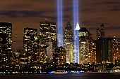 The two towers of light are composed of two banks of high wattage spotlights that point straight up from a lot next to Ground Zero. This photo was taken from Liberty State Park, N.J., September 11, th