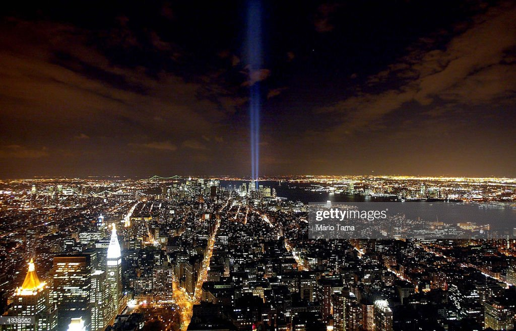 The 'Tribute in Light' memorial to the World Trade Center is seen from the Empire State Building April 3, 2002 in New York City.