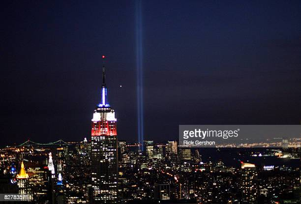 The Tribute in Light shines brightly on the evening of the anniversary of the attacks on the World Trade Towers September 11 2008 in New York City...