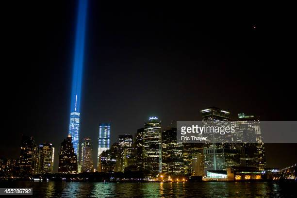 The 'Tribute in Light' shines on September 11 2014 in New York City This year marks the 13th anniversary of the September 11th terrorist attacks that...