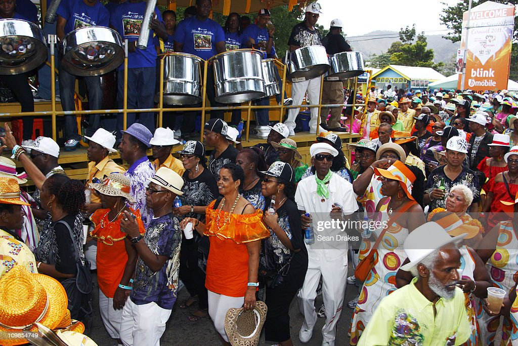 The Trinidad All Stars Steel Orchestra performs for masqueraders at Carnival on March 7 2011 in Port of Spain Trinidad