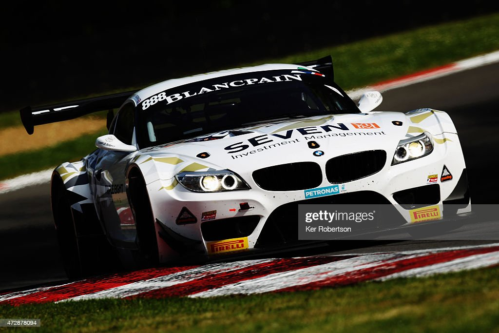 The Triple Eight Racing BMW Z4 of Lee Mowle and Joe Osborne drives in the Main Race during the Blancpain GT Sprint Series event at Brands Hatch on...