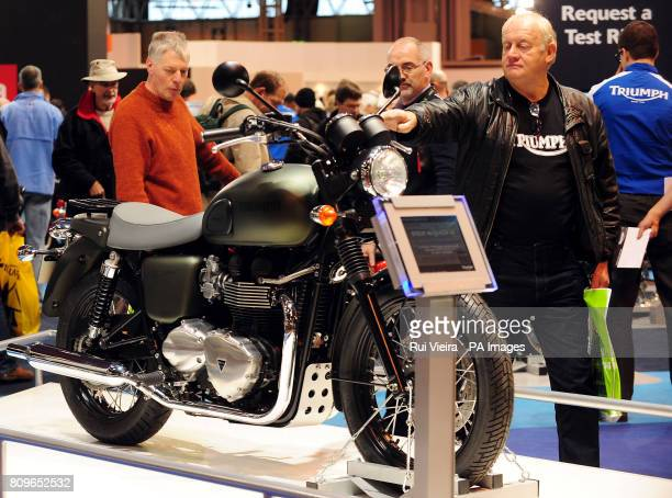 PHOTO The Triumph Bonneville T100 Steve McQueen Special Edition Motorcycle on display at the Motorcycle Live show at the NEC in Birmingham the...