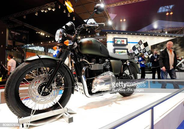 The Triumph Bonneville T100 Steve McQueen Special Edition Motorcycle on display at the Motorcycle Live show at the NEC in Birmingham the motorcycle...