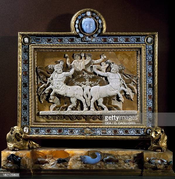 The Triumph of Bacchus cameo in glass paste framed in 1780 by Luigi Valadier with antique items Roman Civilisation Paris Musée Du Louvre