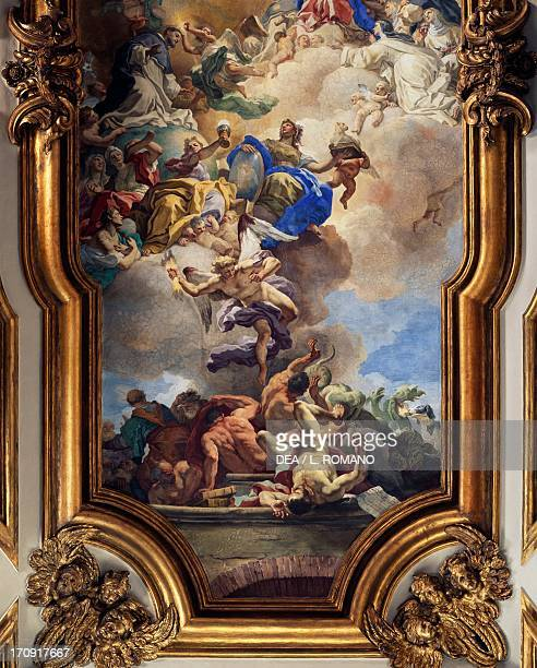 The Triumph of Faith over the Heresy of the Dominicans by Francesco Solimena fresco in the sacristy Church of San Domenico Maggiore Naples Campania...