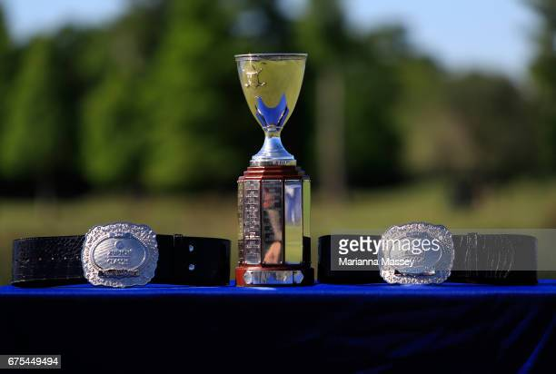 The trophy and belts that were awarded to Cameron Smith of Australia and Jonas Blixt of Sweden in a suddendeath playoff during a continuation of the...