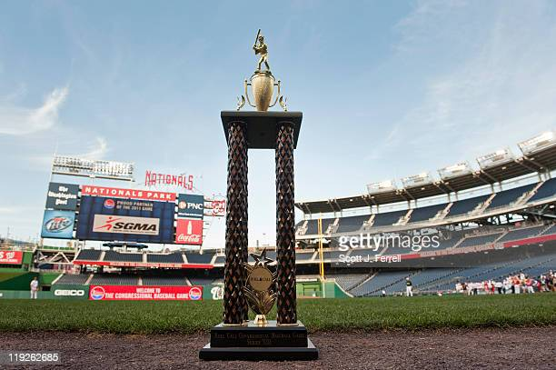 The trophy for the 50th Annual Roll Call Congressional Baseball Game waits for the game to start at Nationals Stadium July 14 2011