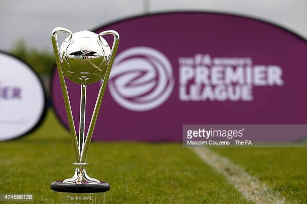 The trophy for The WPL Playoff Final between Portsmouth FC Ladies and Sheffield FC Ladies at Stratford Town FC on May 24 2015 in StratforduponAvon...