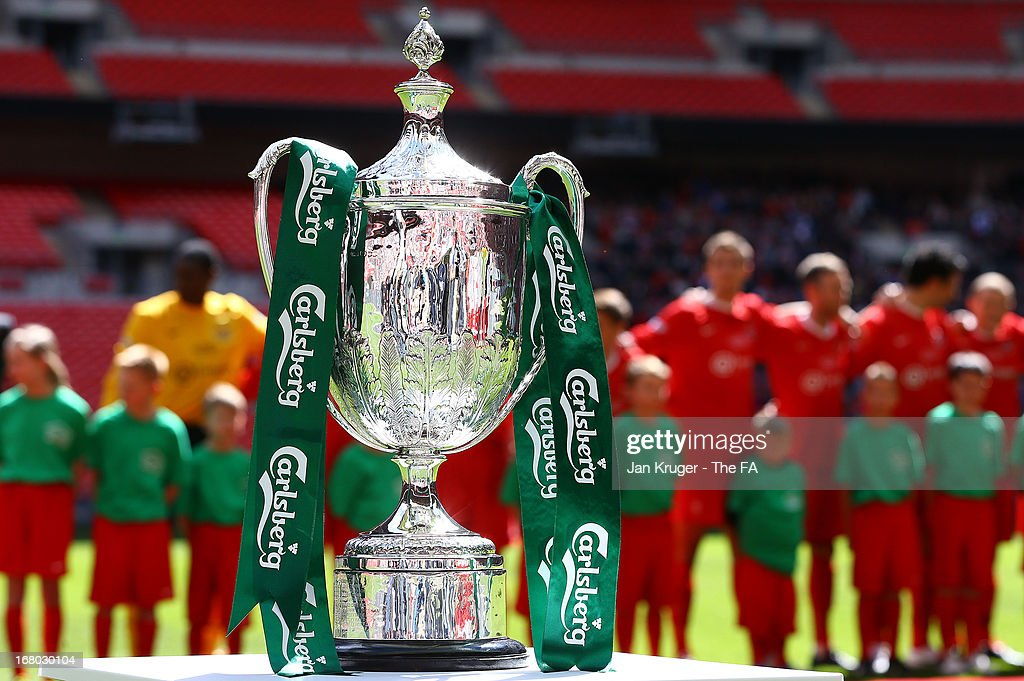 The trophy is displayed ahead of kick off during the FA Carlsberg Vase Final match between Spennymoor Town FC and Tunbridge Wells FC at Wembley Stadium on May 4, 2013 in London, England.