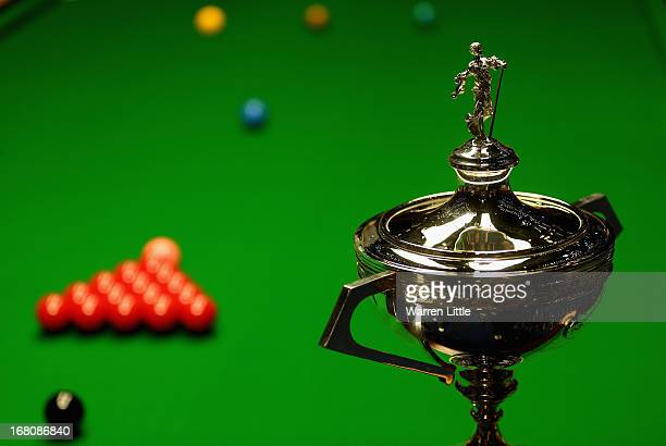 The trophy is pictured ahead of the final between Englishmen Ronnie O'Sullivan and Barry Hawkins for the Betfair World Snooker Championship at the...