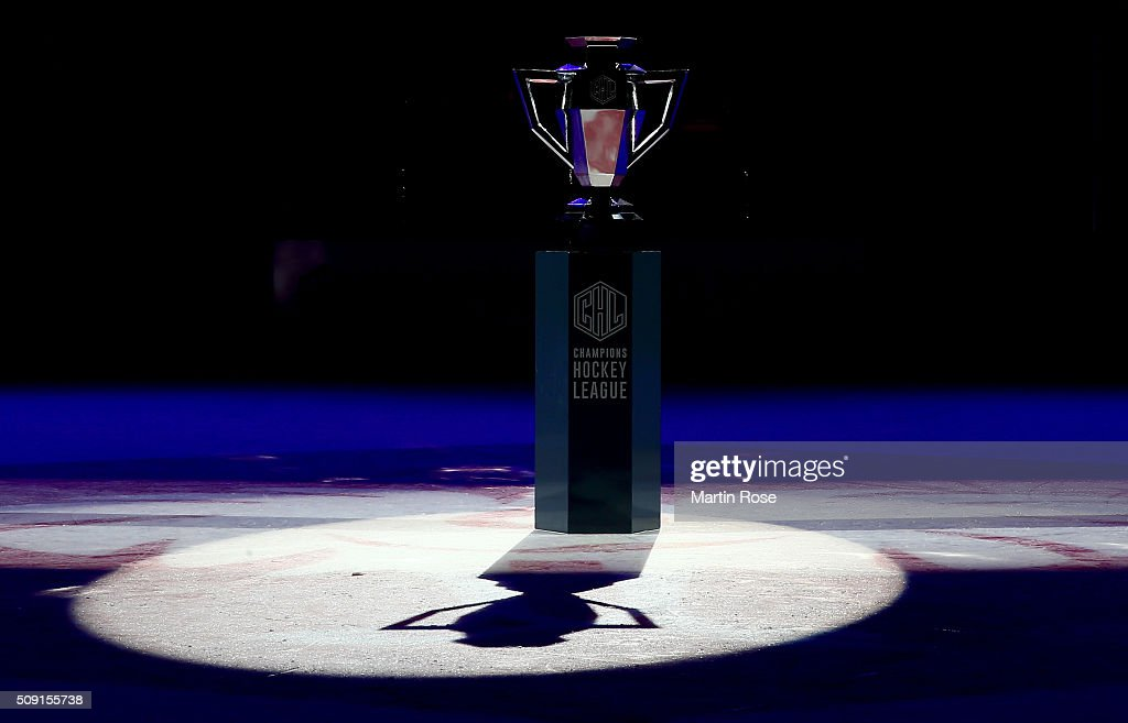 The trophy is pictured before the Champions Hockey League final game between Karpat Oulu and Frolunda Gothenburg at Oulun Energia-Areena on February 9, 2016 in Oulu, Finland.