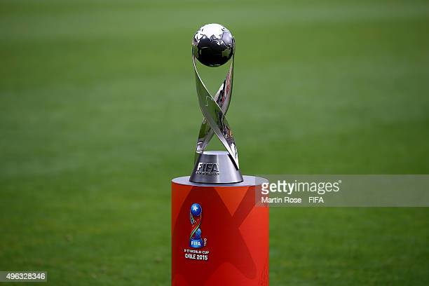 The trophy is pictured before the FIFA U17 Men's World Cup 2015 final match between Mali and Nigeria at Estadio Sausalito on November 8 2015 in Vina...