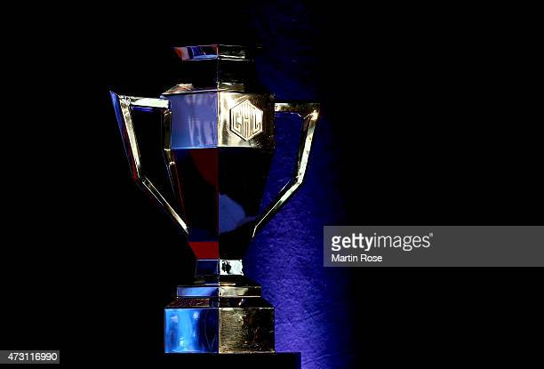 The trophy is pictured during the draw of the CHL Champions League 201516 season at the o2 Arena on May 13 2015 in Prague Czech Republic