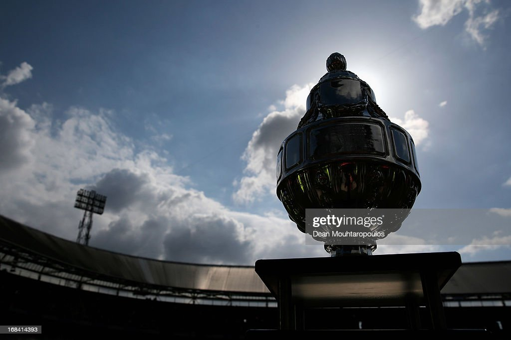 The trophy is pictured prior to the Dutch Cup final between PSV Eindhoven and AZ Alkmaar at De Kuip on May 9 2013 in Rotterdam Netherlands