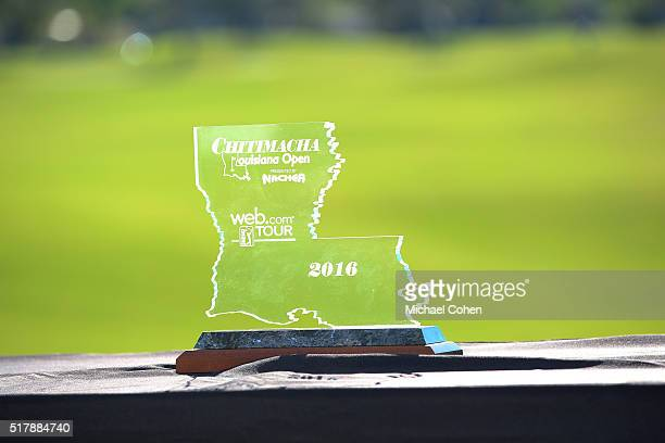 The trophy is seen after the final round of the Chitimacha Louisiana Open presented by NACHER held at Le Triomphe Golf and Country Club on March 20...