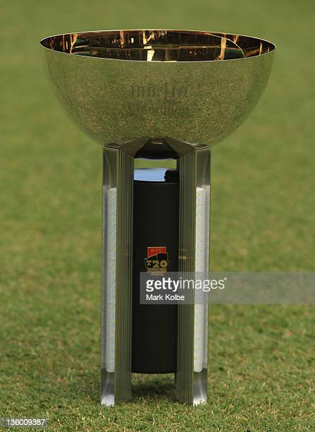 The trophy is seen before play in the T20 Big Bash League match between the Sydney Sixers and the Brisbane Heat at Sydney Cricket Ground on December...