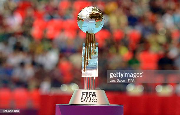 The trophy is seen during the FIFA Futsal World Cup Final at Indoor Stadium Huamark on November 18 2012 in Bangkok Thailand