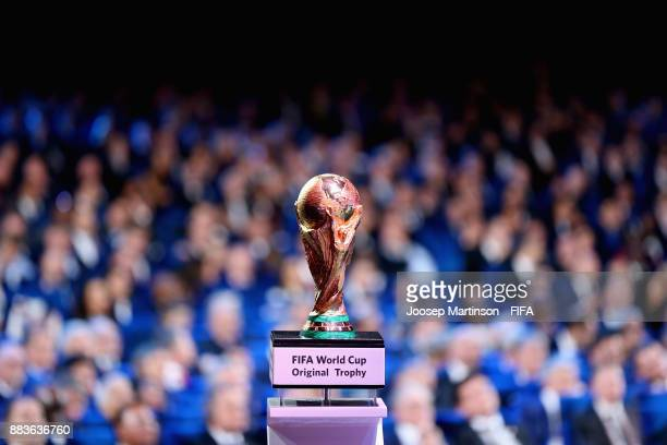 The trophy is seen during the Final Draw for the 2018 FIFA World Cup Russia at the State Kremlin Palace on December 1 2017 in Moscow Russia
