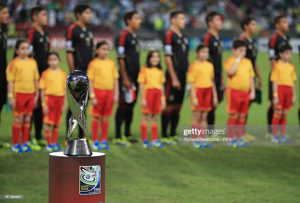 The trophy is seen during the national anthems during the FIFA U-17 World Cup UAE 2013 Final between Nigeria and Mexico at the Mohamed Bin Zayed Stadium on November 8, 2013 in Abu Dhabi, United Arab Emirates.