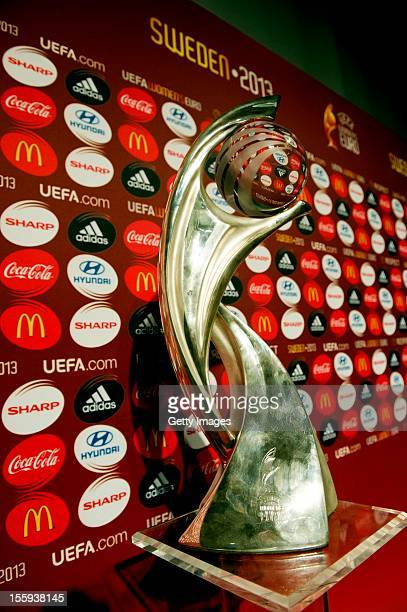 The trophy is seen during the UEFA Women's EURO 2013 Final Draw Ceremony on November 9 2012 in Gothenburg Sweden