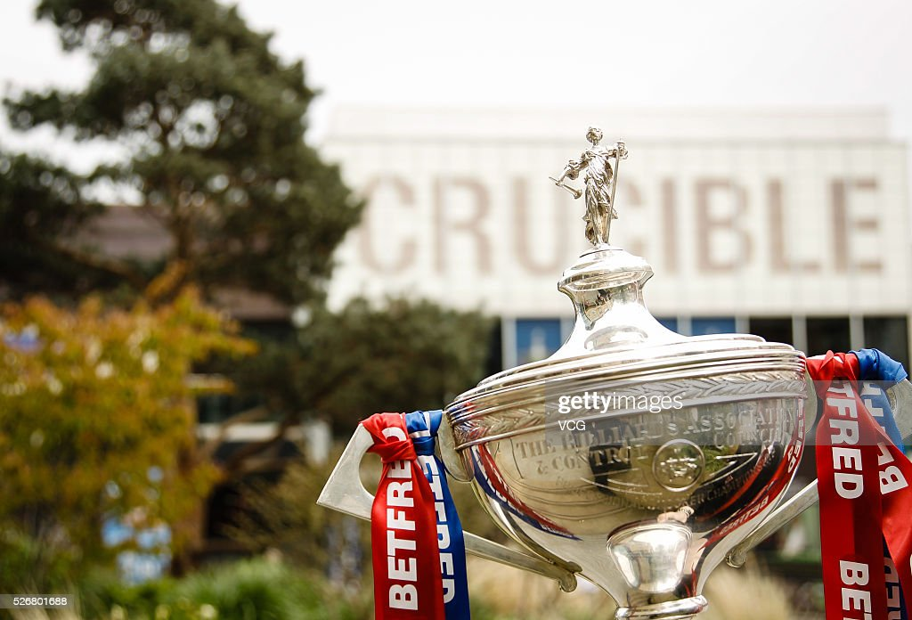 The trophy is seen in the final match between Ding Junhui of China and Mark Selby of England on day sixteen of Betfred World Championship 2016 at The Crucible Theatre on May 1, 2016 in Sheffield, England.