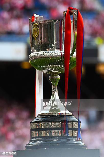 The trophy is seen prior to the Copa del Rey Final match between FC Barcelona and Athletic Club at Camp Nou on May 30 2015 in Barcelona Spain