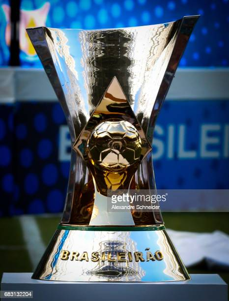 The trophy of the Brasileirao 2017 is showed before the match between Palmeiras and Vasco da Gama for the Brasileirao Series A 2017 at Allianz Parque...
