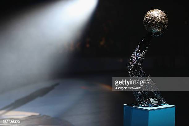 The trophy of the EHF Champions League is pictured on May 29 2016 in Cologne Germany