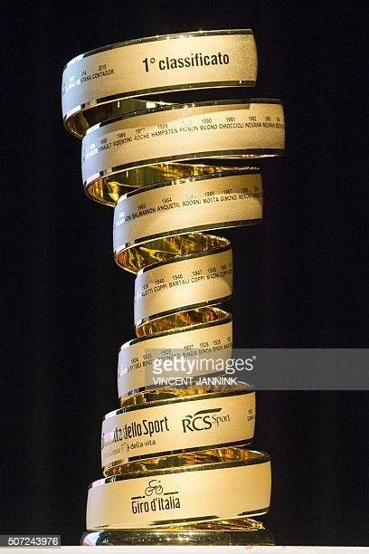 The trophy of the Giro cycling race is pictured during the presentation of the campaign Giro Netherlands ahead of the 99th Giro d'Italia 2016 on...