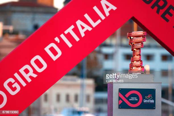 The trophy of the Giro d'Italia cycling race is shown on stage at the end of the presentation of the teams on May 4 2017 on the eve of the start of...