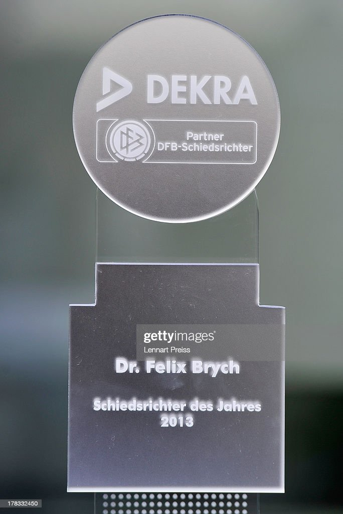 The trophy of the Referee Of The Year 2013 award is pictured during the awarding ceremony at Hotel Bayerischer Hof on August 29, 2013 in Munich, Germany.