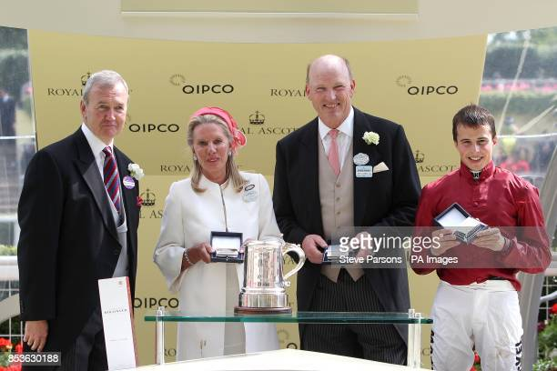 The trophy presentations for the winning connections of Eagle Top owner Lady Bamford trainer John Gosden and jockey William Buick after victory in...