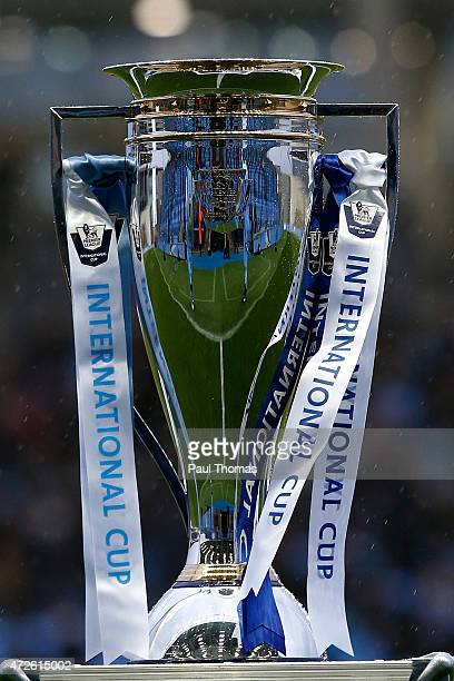 The trophy sits on display before the Premier League International Cup Final match between Manchester City and FC Porto at the Manchester City...