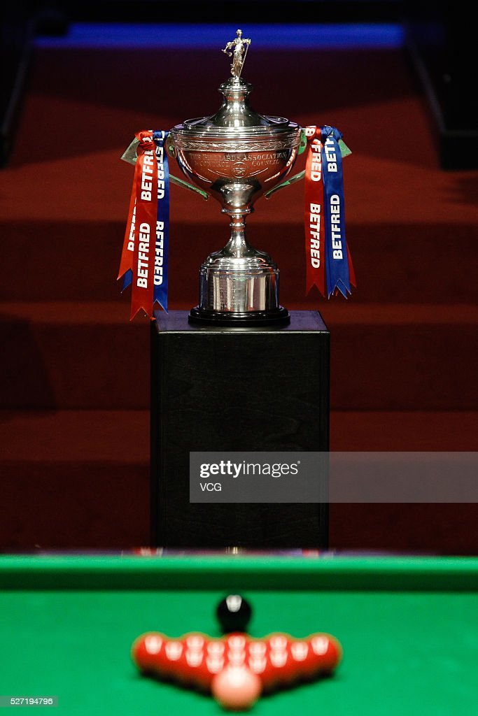 The trophy sits on display in the final match between Ding Junhui of China and Mark Selby of England on day seventeen of Betfred World Championship 2016 at The Crucible Theatre on May 2, 2016 in Sheffield, England.