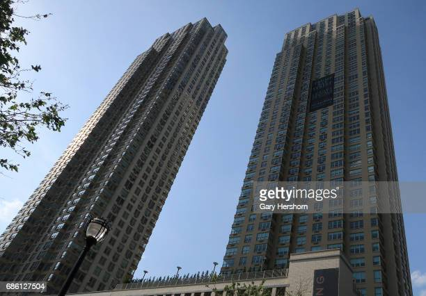 The Trump Bay Street luxury rental towers are seen on May 19 2017 in Jersey City NJ
