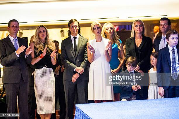 The Trump family cheers as business mogul Donald Trump announces his candidacy for the US presidency at Trump Tower on June 16 2015 in New York City...