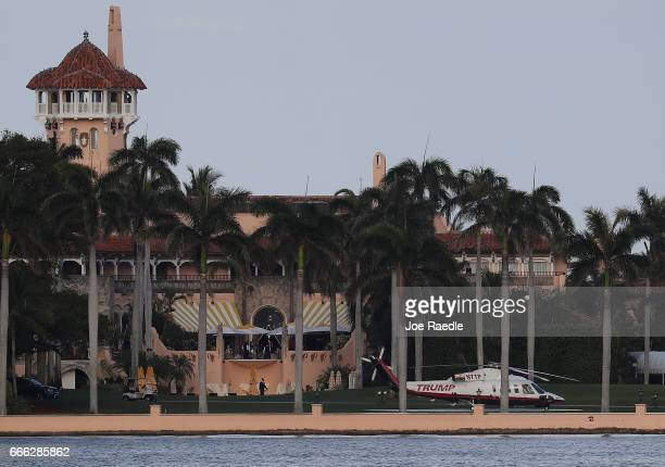 The Trump helicopter is seen at the MaraLago Resort where President Donald Trump yesterday held meetings with Chinese President Xi Jinping on April 8...