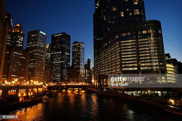 The Trump International Hotel Tower sits along the Chicago River in the business district August 18 2008 in Chicago Illinois The 92story hotel and...
