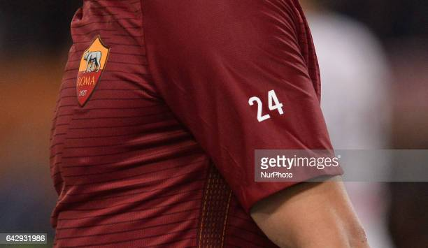 The tshirt dedicated to Roma's midfielder n 24 Alessandro Florenzi during the Italian Serie A football match between AS Roma and FC Torino at the...