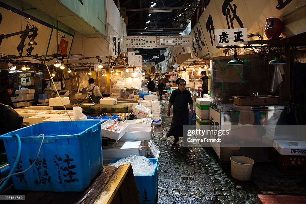 MARKET, TOKYO, JAPAN. The Tsukiji Market is the biggest wholesale fish and seafood market in the world and also one of the largest wholesale food markets of any kind. The market is located in Tsukiji in central Tokyo, and is a major attraction for foreign visitors.