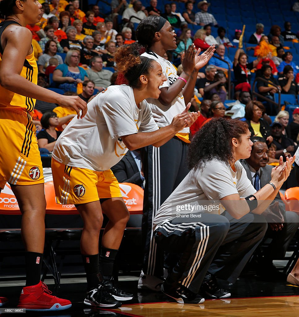 The Tulsa Shock bench celebrates against the Phoenix Mercury during Game Two of the WNBA Western Conference Semifinals on September 19 2015 at the...