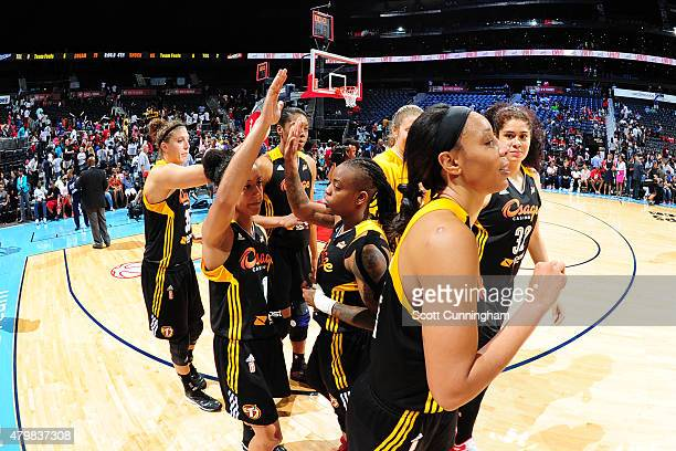 The Tulsa Shock celebrate a victory against the Atlanta Dream in a WNBA game on July 7 2015 at Philips Arena in Atlanta Georgia NOTE TO USER User...
