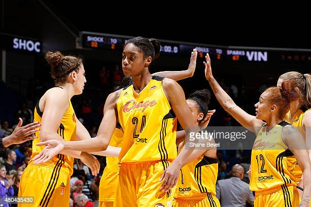 The Tulsa Shock celebrate in a WNBA game against the Los Angeles Sparks on July 11 2015 at the BOK Center in Tulsa Oklahoma NOTE TO USER User...