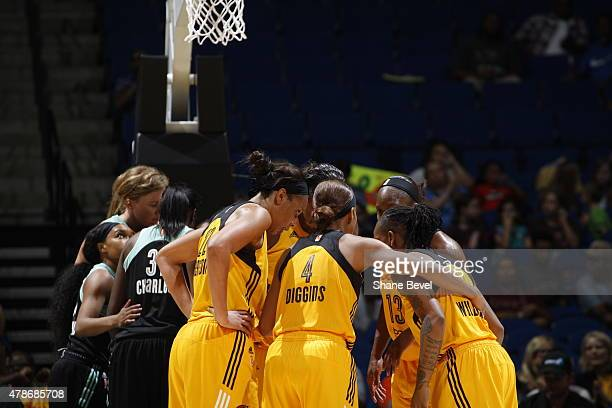 The Tulsa Shock huddle during the game against the New York Liberty on June 26 2015 at the BOK Center in Tulsa Oklahoma NOTE TO USER User expressly...