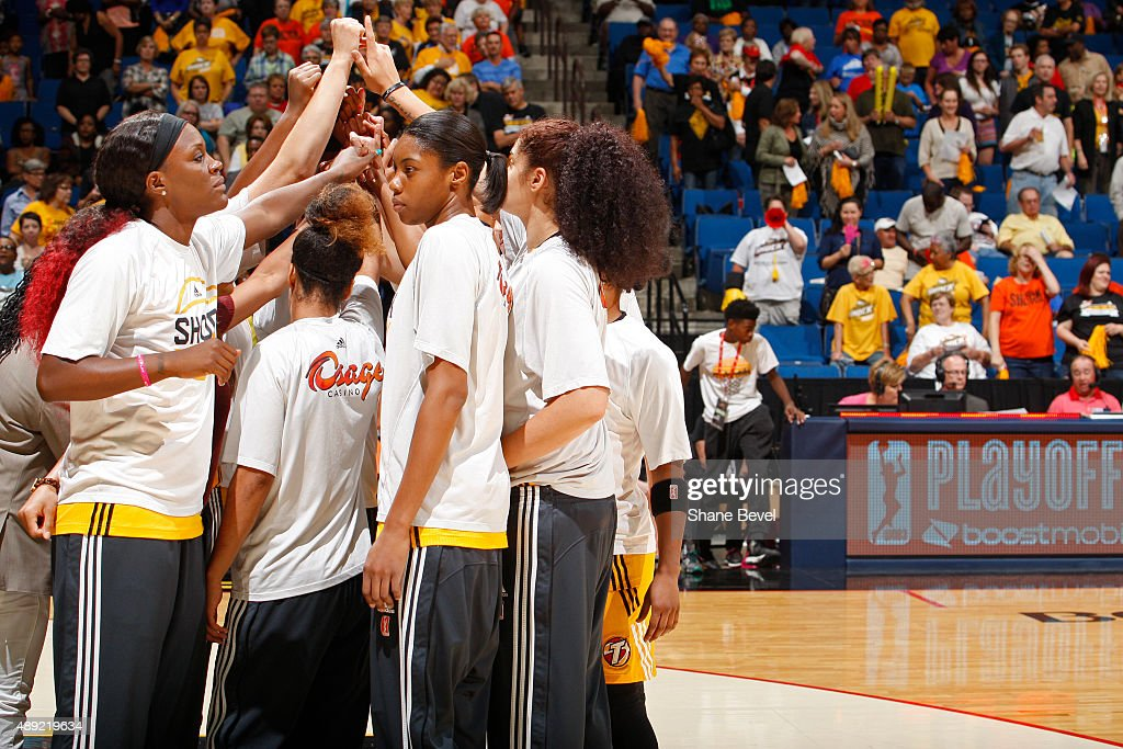 The Tulsa Shock huddle up before Game Two of the WNBA Western Conference Semifinals against the Phoenix Mercury on September 19 2015 at the BOK...