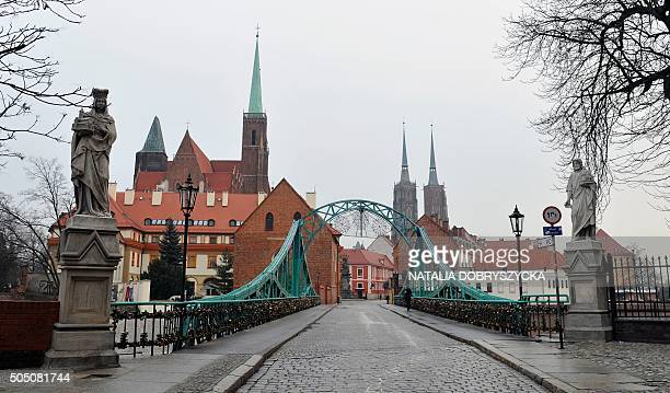 The tumski bridge leading to the cathedral island is pictured in Wroclaw Poland on January 15 2016 that is the ambition of the Polish city of Wroclaw...