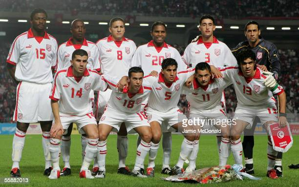 The Tunisian team pose for a group photo during the World Cup 2006 African group 5 qualifying soccer match between Tunisia and Morocco at the Rades...