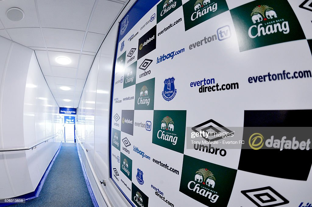 The tunnel at Goodison Park before the Barclays Premier League match between Everton and A.F.C. Bournemouth at Goodison Park on April 30, 2016 in Liverpool, England.