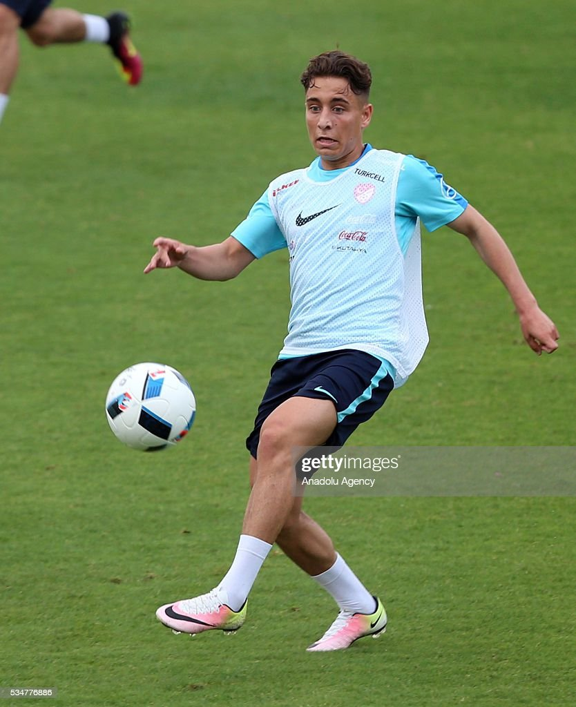 The Turkish national football team's Emre Mor controls the ball in a training session at the Gloria Sports Arena during the camp for their Euro 2016 preparations in Belek district of Antalya, Turkey on May 27, 2016.